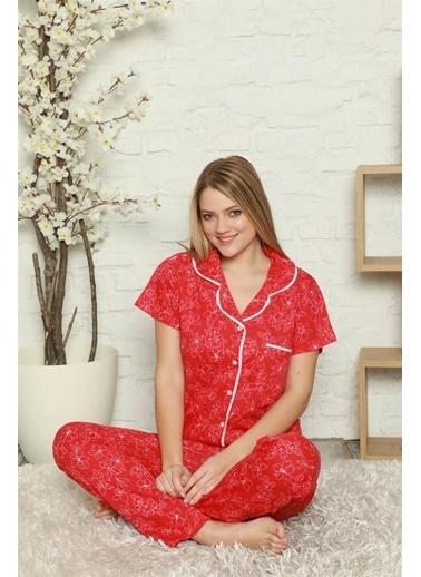 Akbeniz Kadın %100 Pamuk Önden Düğmeli Kısa Kol Pijama Takım 2804 Kırmızı